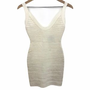 HERVE LEGER Coated Pearlescent Ginny Bandage Dress